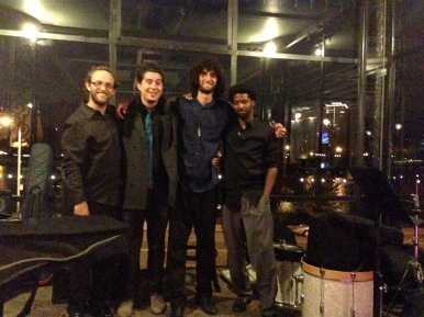 Bringing smiles. Eli, Martin, Bil, and Miles. Oct 11, 2013 at the Terrace Room, Lake Merritt, Oakland, CA.