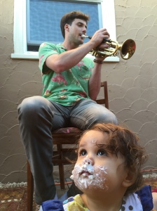 Jacob Savage, founder of CONCRN and new Astronaut plays for a 1-year old's birthday party